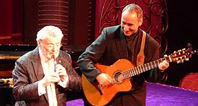 Sir James Galway and Sam Piha live on stage